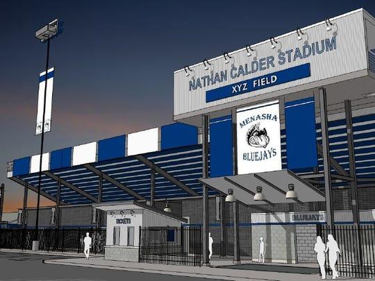 Renderings of Nathan Calder Stadium renovations.