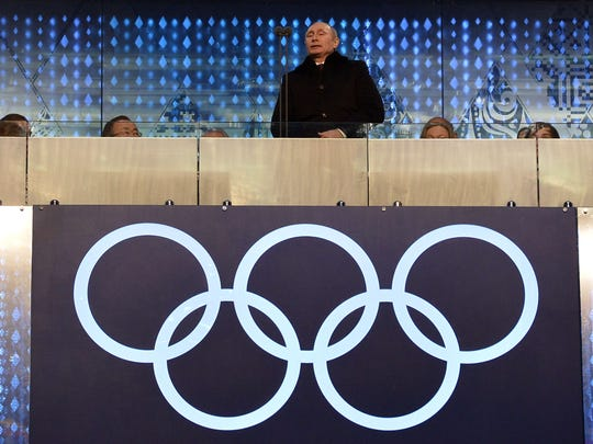 Russian President Vladimir Putin opens the Olympic games during the Opening Ceremony.