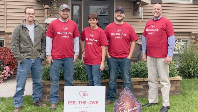 "Crookston's Grove Mechanical participated in the ""Feel the Love"" program in 2019 and was able to install a new furnace for Crookston resident, Nancy Halstenson, who is pictured in the center."