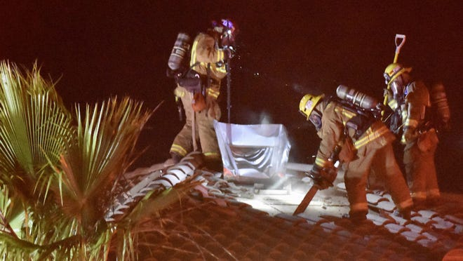 Victorville Fire Department firefighters made quick work of a house fire in Victorville late Tuesday night. No injuries were reported and the fire was contained to one bedroom of the two-story house.