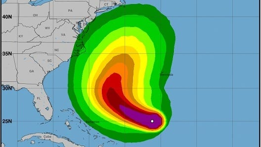 This graphic from the National Weather Service shows the tropical-storm-force winds probabilities from Hurricane Jose until Tuesday, Sept. 19.