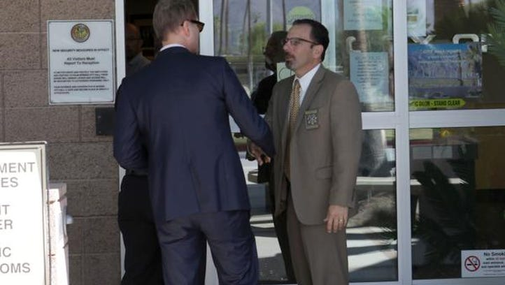 Palm Springs city manager David Ready arrives at Palm