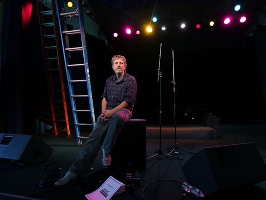 Promoter George Philhower on the stage of the historic