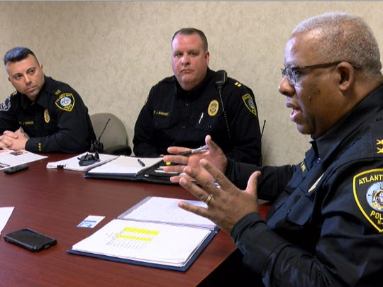 Atlantic City Police Chief Henry White (right)  is shown with Captains James Sarkos (left) and Jerry Barnhart during an interview at the police headquarters Thursday, March 15, 2018.