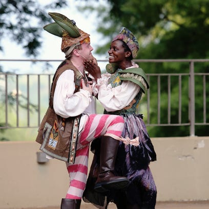 """Petrea Whittier and Kyle Brumley are pictured here in Cincinnati Shakespeare Company's 2015 production of """"A Midsummer Night's Dream."""""""