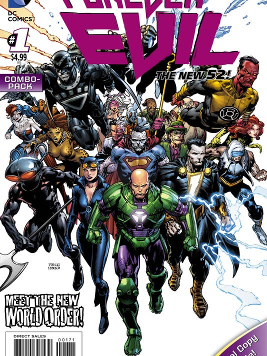 """This image released by DC Entertainment shows the cover for """"Forever Evil"""". There's always bad guys in comic books,rogues, evil geniuses out for world domination. In DC Comics' slate of """"New 52"""" titles there's about to be nothing but villains as the universe finds itself under assault and its only protection the Crime Syndicate? (Courtesy of DC Entertainment)"""