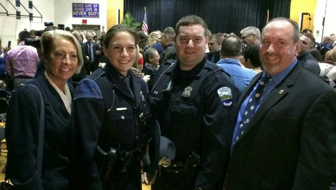 A career in law enforcement is a family tradition for the Oswald-DeBottis family. Pictured from left: Retired Michigan State Police Trooper D.J. Oswald-DeBottis, Trooper Kourtney-Chloe DeBottis, Hamburg Township Officer Dahne DeBottis and retired Hamburg Sgt. Patrick DeBottis.
