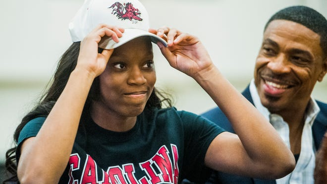 Brew Tech's Bianca Jackson signs to play basketball with South Carolina at the Brew Tech campus in Montgomery, Ala. on Wednesday November 9, 2016.