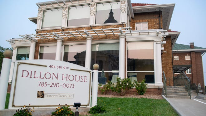 The Dillon House at 404 S.W. 9th was built in 1911 and stands west across the street from the Kansas Statehouse.