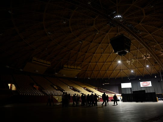 Tour of the Brown County Veterans Memorial Arena during the 2015 North Eastern Wisconsin Construction Industry Partnership (NEWCIP) Spring Program in Ashwaubenon on Thursday, May 28, 2015.