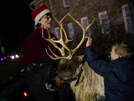 Reindeer owner and handler Zoann Parker encourages an audience member to touch Star's antler on Dec. 3, 2015 in Spring Grove.