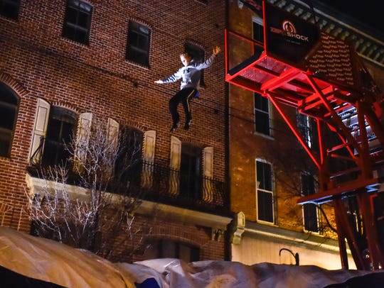 Connor Landrith, 11-years old, jumps off from Zero