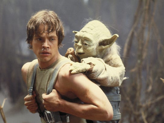 Mark Hamill as Luke Skywalker and Yoda in a scene from 'Star Wars: Episode V - The Empire Strikes Back'