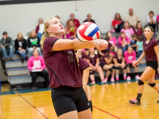 Southern Fulton's Olivia Mottern bumps the ball during a match against McConnellsburg earlier this season. Mottern joined the Indians this year after not playing volleyball since seventh grade.