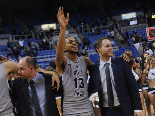 Hallice Cooke celebrates after Nevada's win over Boise State earlier this season.