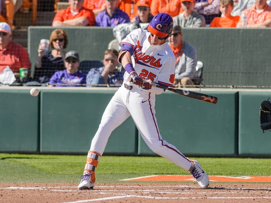 Clemson infielder Patrick Cromwell (25) swings at a pitch against South Carolina on Sunday in Clemson's Doug Kingsmore Stadium.