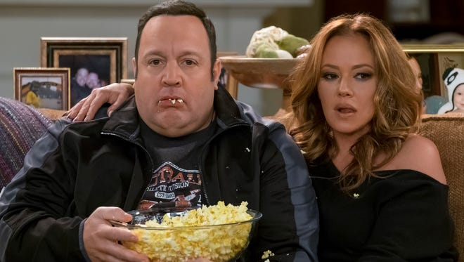 Together again: Kevin James, left, reunites with his former TV wife on 'The King of Queens,' Leah Remini, in the season finale of CBS sitcom 'Kevin Can Wait.'