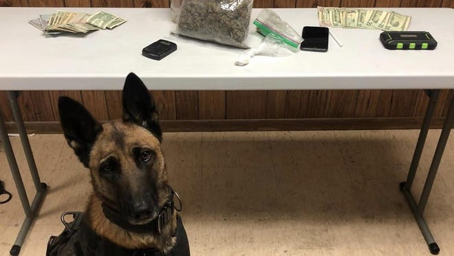 K-9 Officer Nika participated in the seizure of drugs and paraphernalia in traffic stops this weekend.