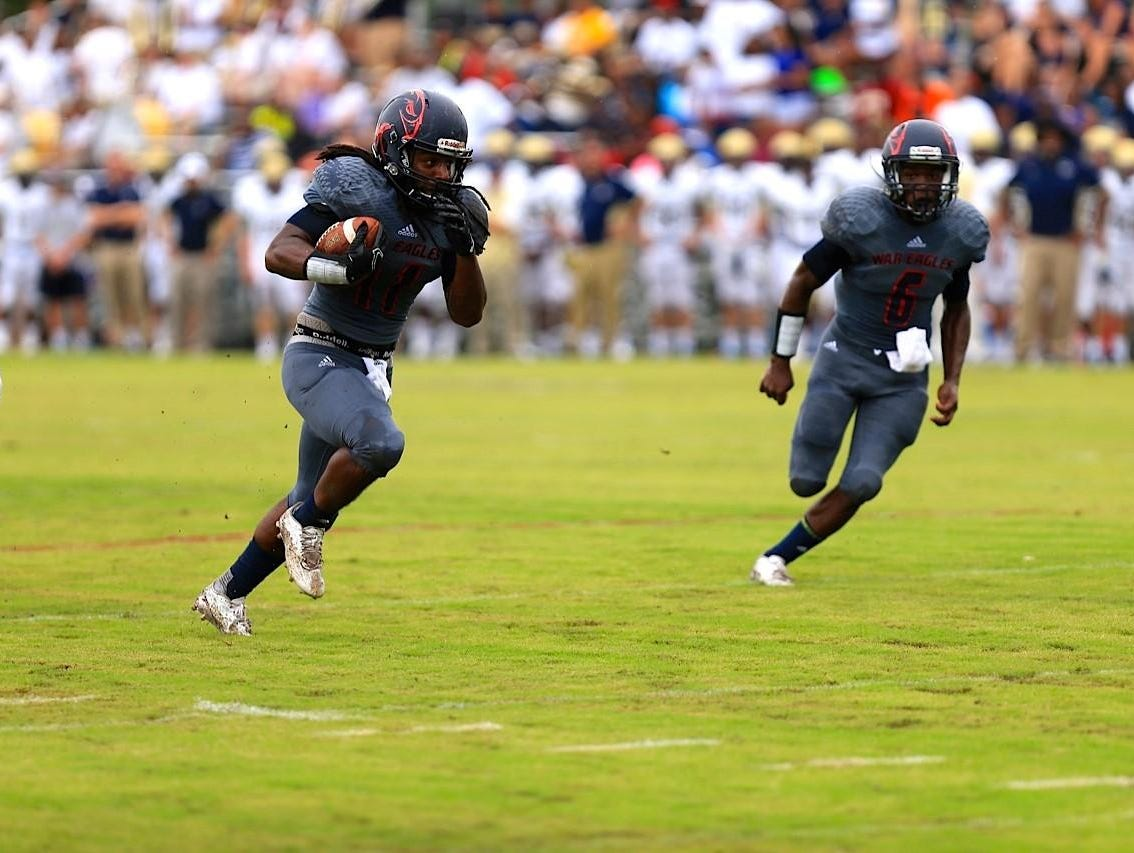 Wakulla running back Demarcus Lindsey streaks for a 24-yard touchdown in the first quarter of the War Eagles' season-opening 42-14 loss to Spartanburg.