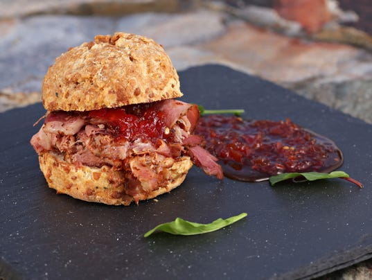 Ham and Jam Sliders on Cheddar Biscuits