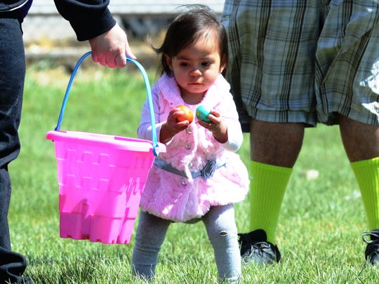 This young lady enjoyed tapping her eggs together instead of dropping them into the basket at Sunday's Yerington Lions Club Easter Egg Hunt.