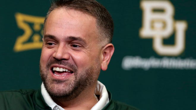 Baylor head football coach Matt Rhule talks with reporters at a news conference on National Signing Day on Wednesday. Rhule finalized his first class as Baylor's coach on Wednesday.