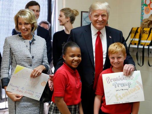 Donald Trump, Betsy DeVos, Janayah Chatelier, Landon Fritz