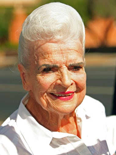 Former Gov. Rose Mofford poses for a photo Sunday,