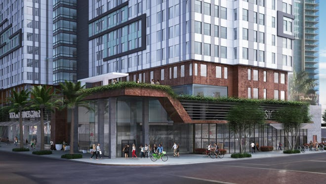 Rendering of proposed 13-story apartment building that could be built at the northeast corner of Farmer Avenue and University Drive in Tempe.