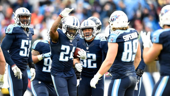 Titans strong safety Daimion Stafford (24) celebrates his fumble recovery that preserved the Titans' 13-10 win over the Broncos at Nissan Stadium Sunday, Dec. 11, 2016, in Nashville, Tenn.