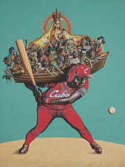 """El Cuarto Bate (The Cleanup Hitter)"" by Reymerio Tamayo is a painting in the exhibit ""Stealing Base: Cuba at the Bat."""