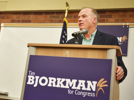 Democratic candidate for U.S. House Tim Bjorkman holds
