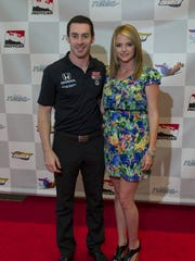 Simon Pagenaud with girlfriend Hailey McDermott on the red carpet in 2013.
