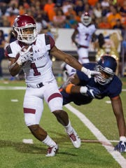 New Mexico State's Royce Caldwell gets free from UTEP