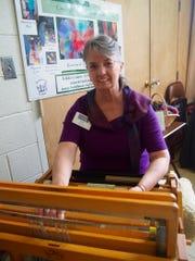 Nikki Crain at her loom.