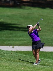 Katelyn Skinner hits during the Women's City Golf Tournament at Rolling Hills Country Club in Evansville, Ind., on Tuesday, June 27, 2017.