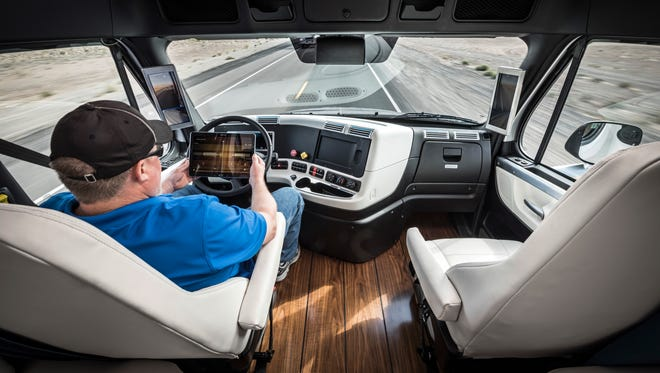 Daimler Trucks North America licensed a self-driving Freightliner truck in Nevada, allowing drivers to take a break as they the truck drives itself