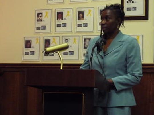 Spring Valley Youth Director Sonia Barton speaks at a special meeting Wednesday. The meeting was called to discuss how to restore the village's summer day camp.