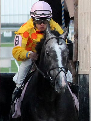 Photograph of jockey Juan Saez racing at Indiana Grand Racing and Casino during the 2014 season.