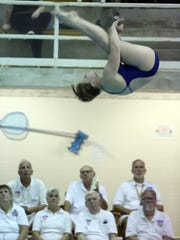 Jennifer Bell of Pelham High School competes during the Section 1 diving championships at Purchase College in Purchase Oct. 30, 2017.