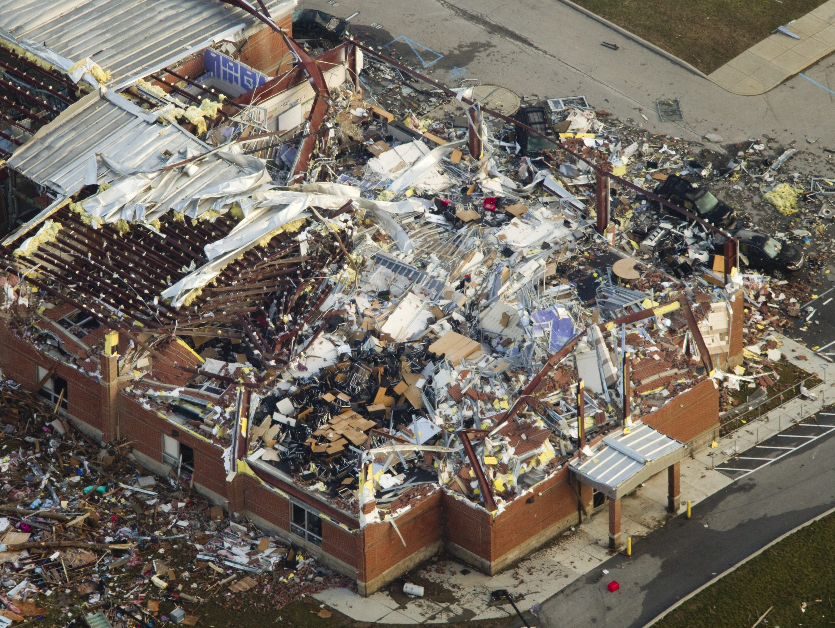 Henryville High School in southern Indiana took a direct hit from a tornado March 2, 2012.