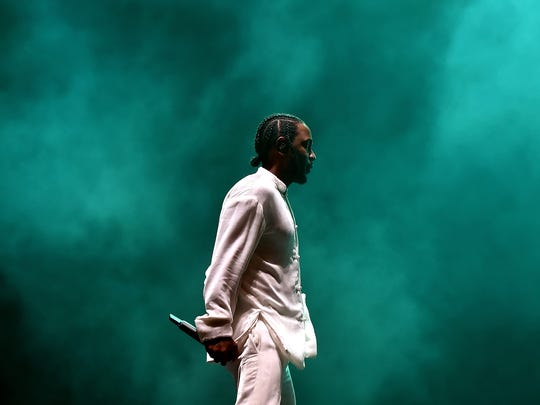 Rapper Kendrick Lamar performs on the Coachella Stage
