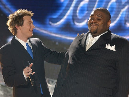 "Clay Aiken (left) congratulates victor Ruben Studdard at the ""American Idol"" finale on May 21, 2003."