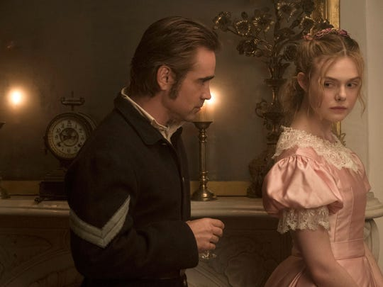 In 'The Beguiled,' Colin Farrell plays a recovering Union solider taking shelter in a boarding school where young women, including Alicia (Elle Fanning), reside.