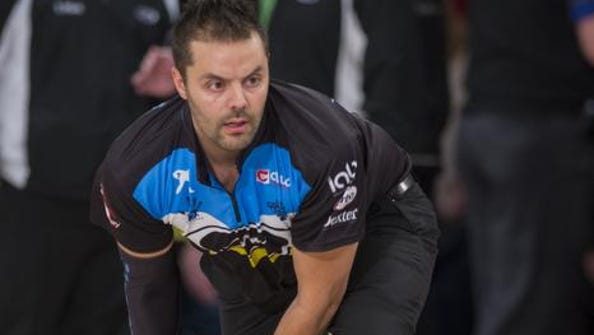 Jason Belmonte warms up Feb. 15, 2015, for the PBA