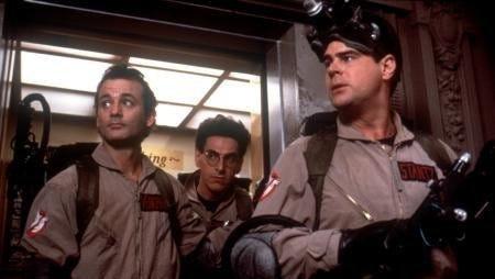 """Dan Aykroyd, Bill Murray and Harold Ramis in """"Ghostbusters"""" (1984)."""