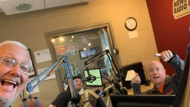 The WWNC Sports Freaks will air a 20th-anniversary celebration show on Monday night. From left to right are co-host Mike Morgan, producer Seth Stewart and co-host Brian Hall.