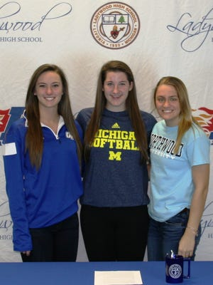 Ladywood seniors (from left) Samantha Riga, Morgan Larkin and Andrea Kwasniewicz signed letters of intent to play their respective sports at the collegiate level Wednesday morning.