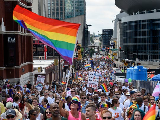 Thousands gathered to show their pride and march through downtown for the Nashville Pride Festival in Nashville, Tenn., Saturday, June 23, 2018.