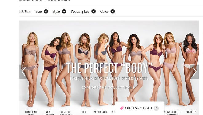"""Screenshot of Victoria's Secret webpage featuring """"Perfect 'Body'"""" ad."""
